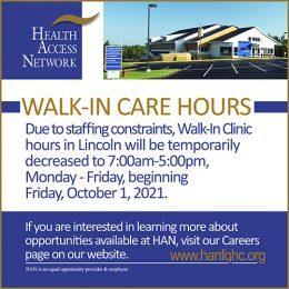 Walk-In Care Hours Adjusted – October 1st